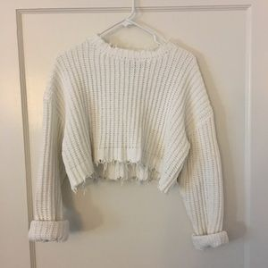 F21 | Chenille Distressed Cropped Sweater